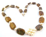 Chunky Jasper And Faux Pearl Bead Necklace With Sterling Silver Clasp.